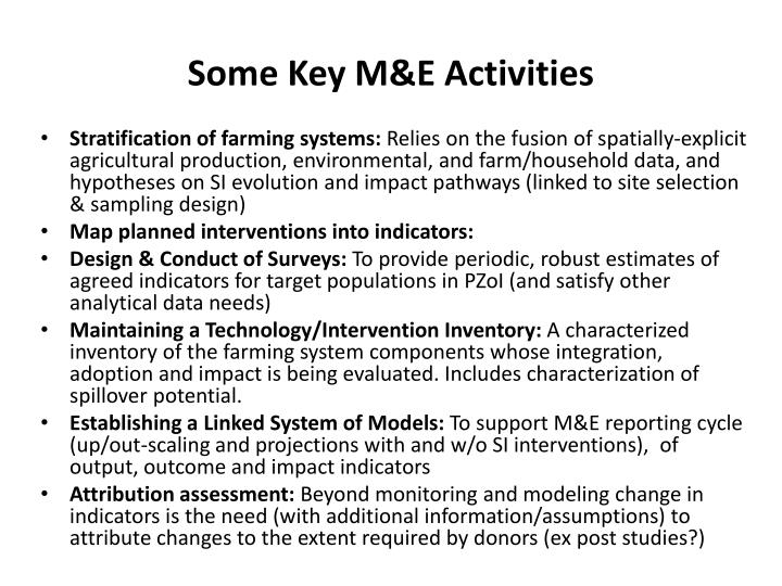 Some Key M&E Activities