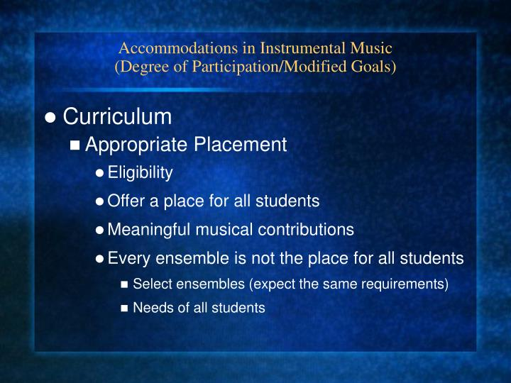 Accommodations in Instrumental Music