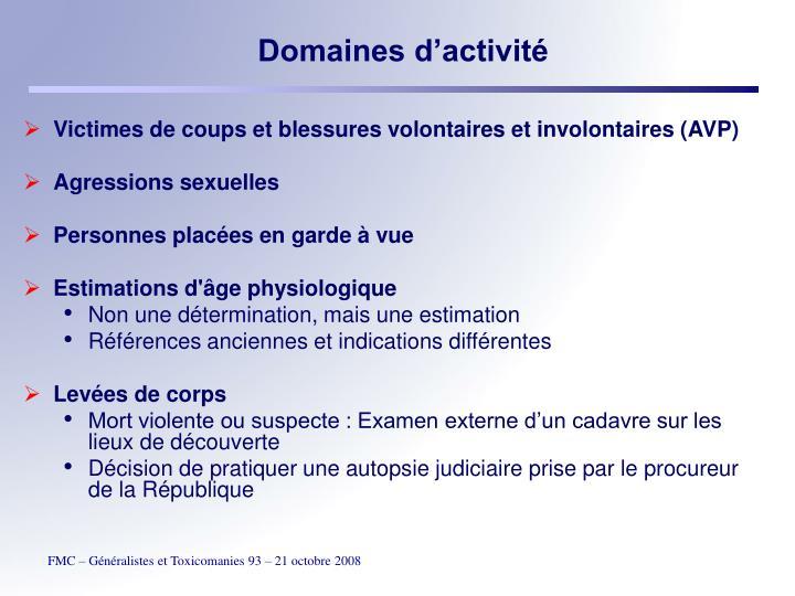Domaines d'activité