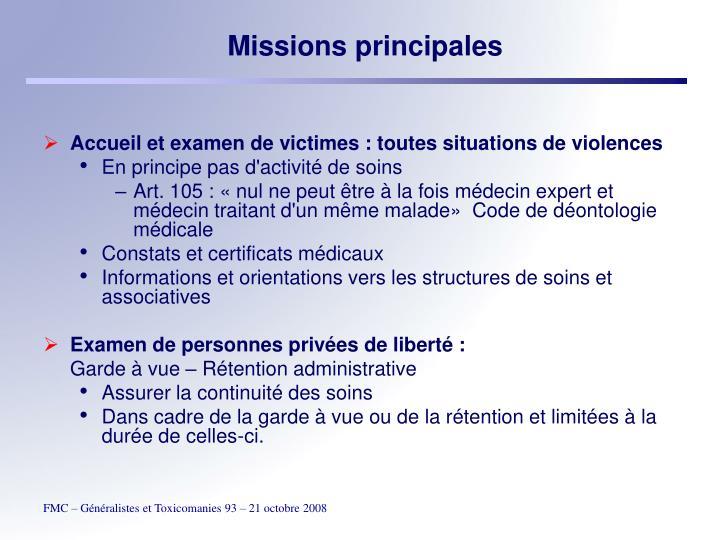Missions principales