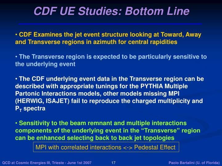 CDF UE Studies: Bottom Line