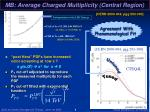 mb average charged multiplicity central region