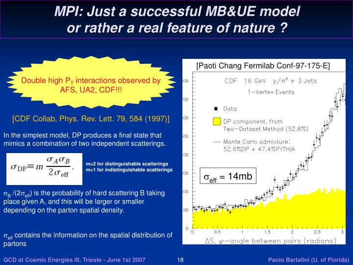 MPI: Just a successful MB&UE model