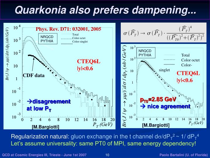 Quarkonia also prefers dampening...