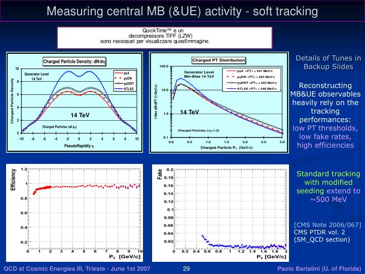 Measuring central MB (&UE) activity - soft tracking