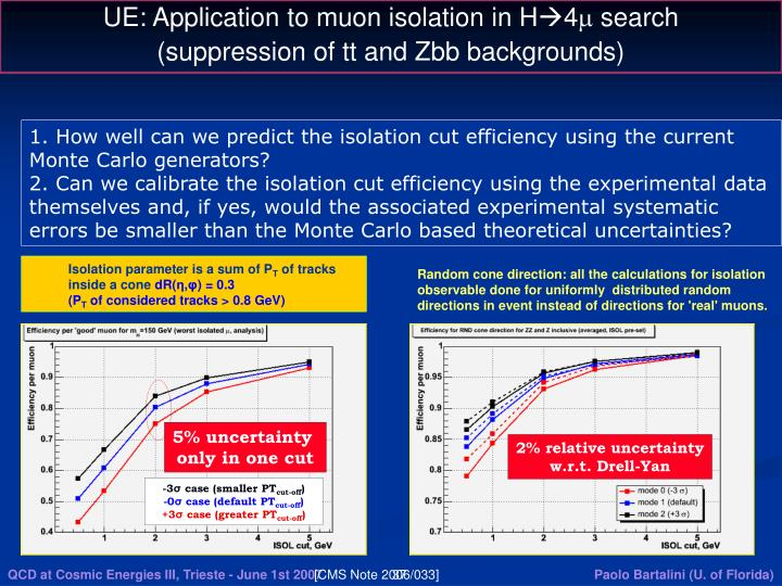 UE: Application to muon isolation in H