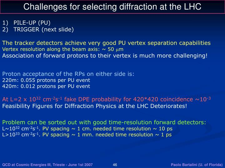 Challenges for selecting diffraction at the LHC