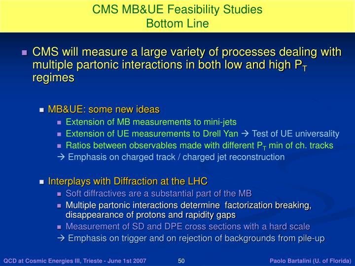 CMS MB&UE Feasibility Studies