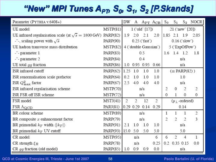 """New"" MPI Tunes A"