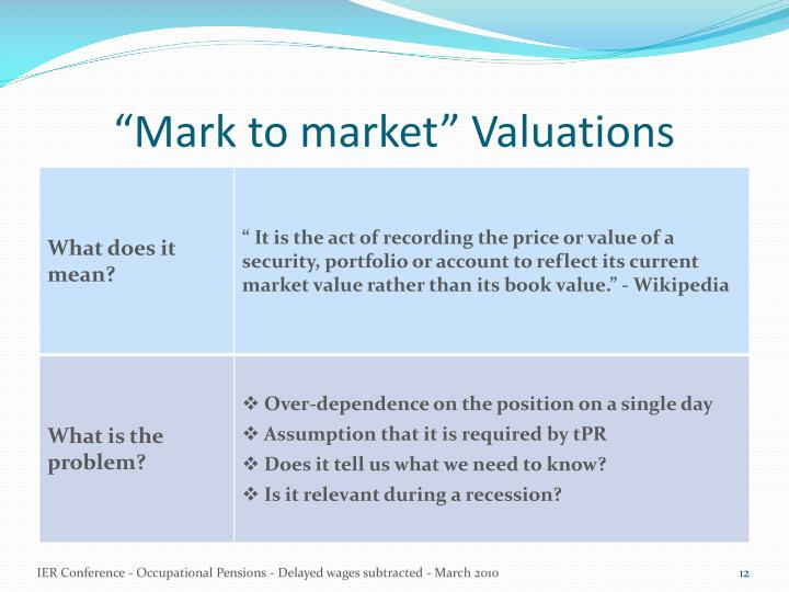 """Mark to market"" Valuations"