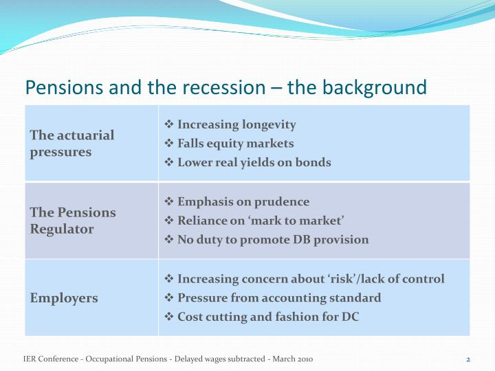 Pensions and the recession the background