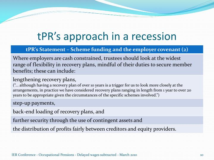 tPR's approach in a recession