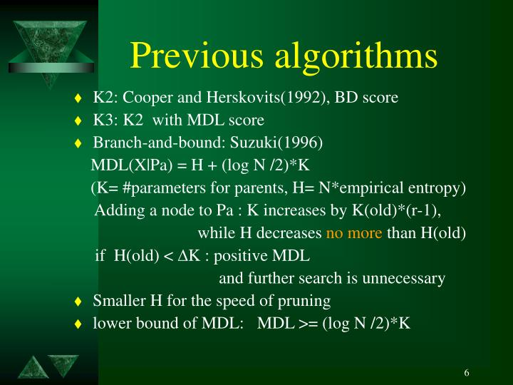 Previous algorithms