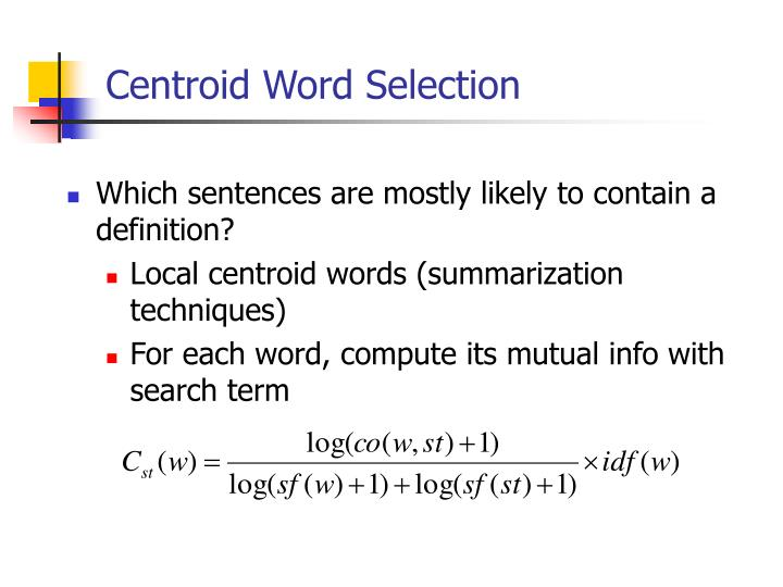 Centroid Word Selection