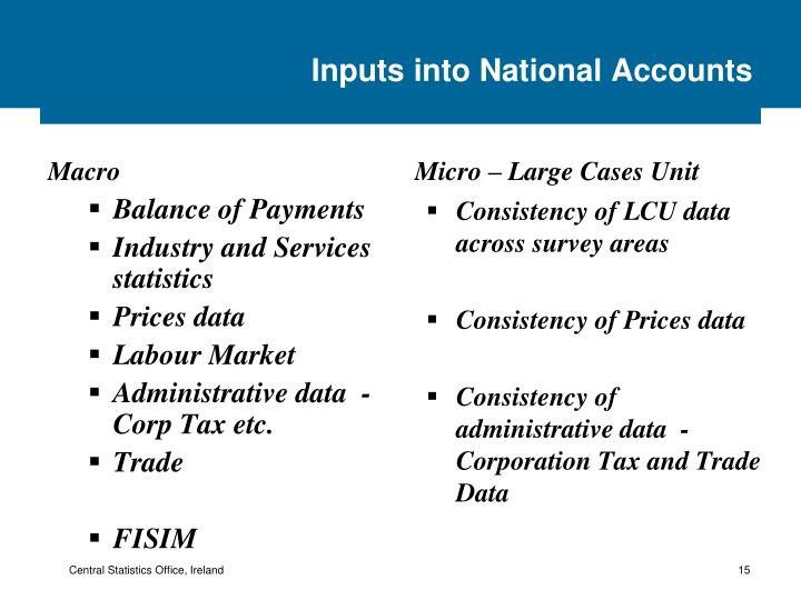 Inputs into National Accounts