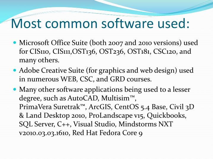 Most common software used: