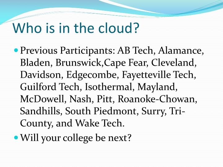 Who is in the cloud?