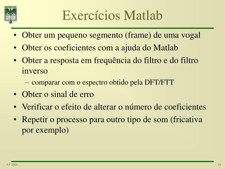 Exercícios Matlab