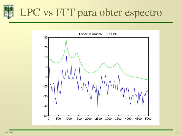 LPC vs FFT para obter espectro
