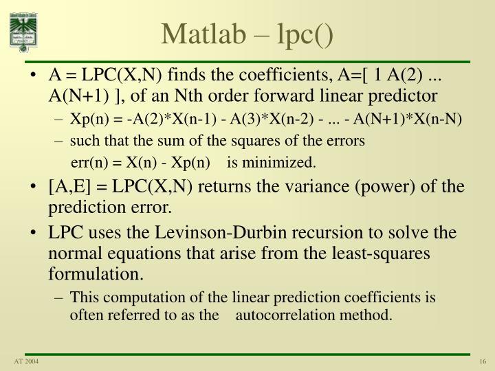 Matlab – lpc()