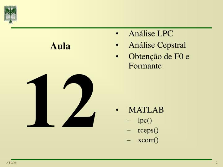 Análise LPC