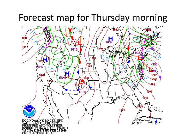 Forecast map for Thursday morning