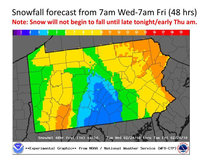 Snowfall forecast from 7am Wed-7am Fri (48 hrs)
