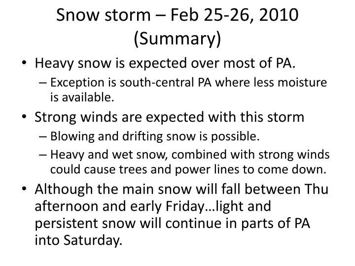 Snow storm – Feb 25-26, 2010