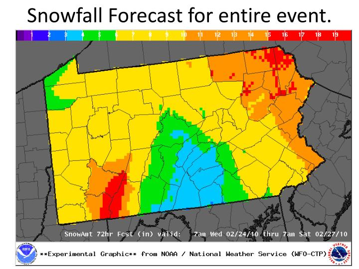 Snowfall Forecast for entire event.