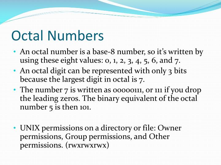 Octal Numbers