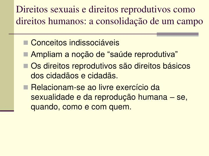 Direitos sexuais e direitos reprodutivos como direitos humanos: a consolidação de um campo