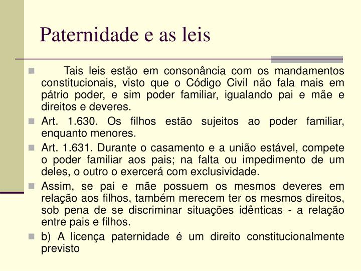 Paternidade e as leis