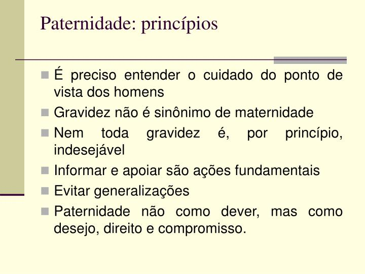 Paternidade: princípios