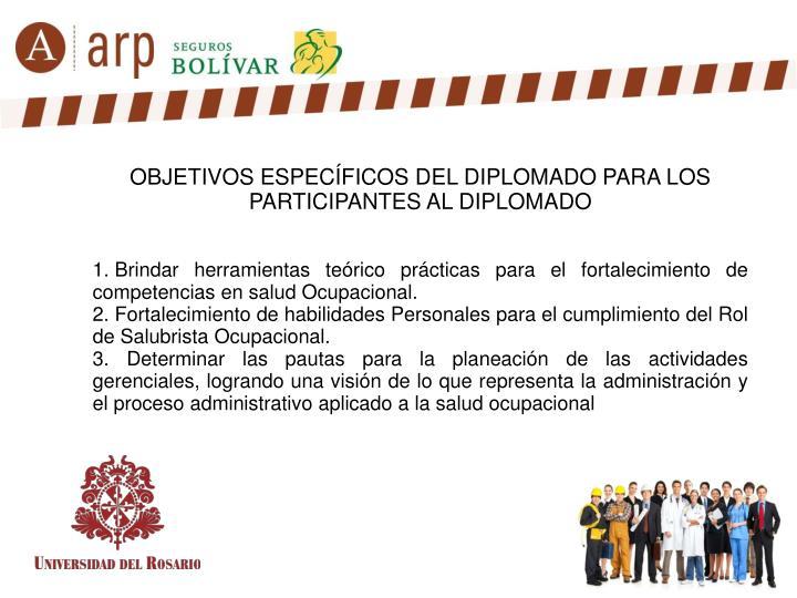 OBJETIVOS ESPECÍFICOS DEL DIPLOMADO PARA LOS PARTICIPANTES AL DIPLOMADO