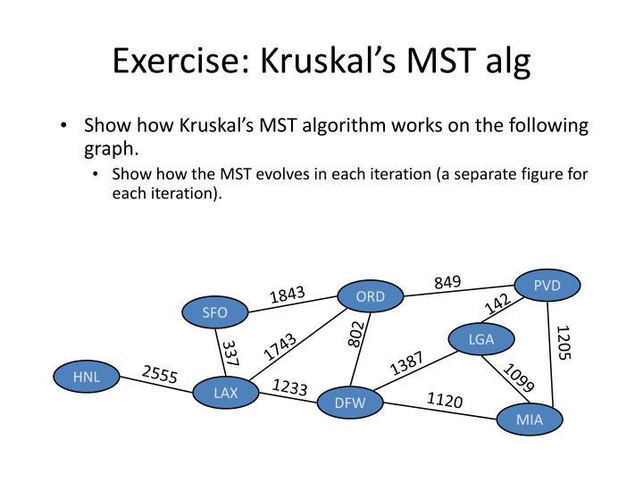 Exercise: Kruskal's MST alg