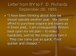 letter from by to f d richards september 30 1855