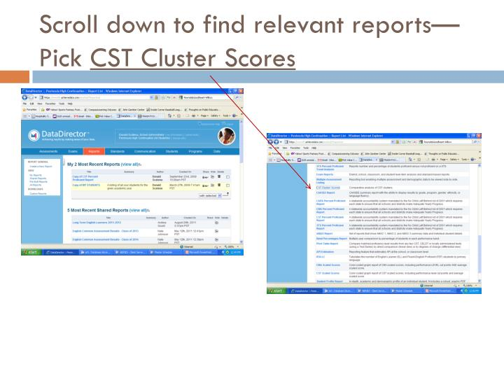 Scroll down to find relevant reports—