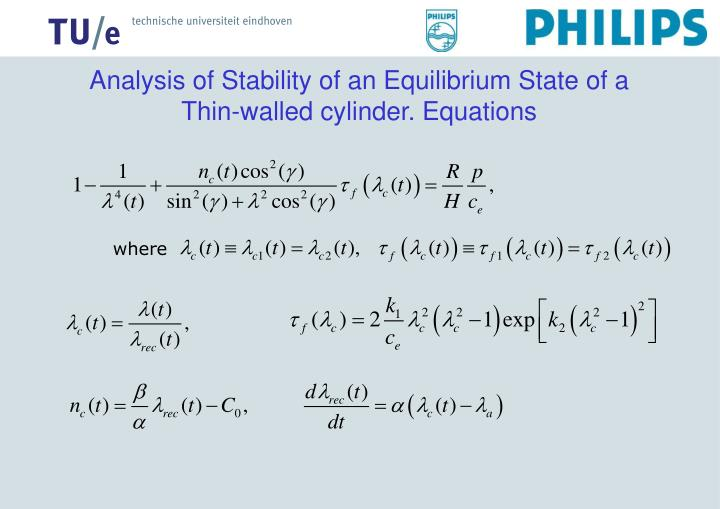 Analysis of Stability of an Equilibrium State of a Thin-walled cylinder. Equations
