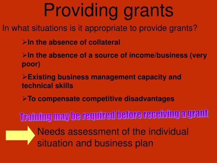 Providing grants