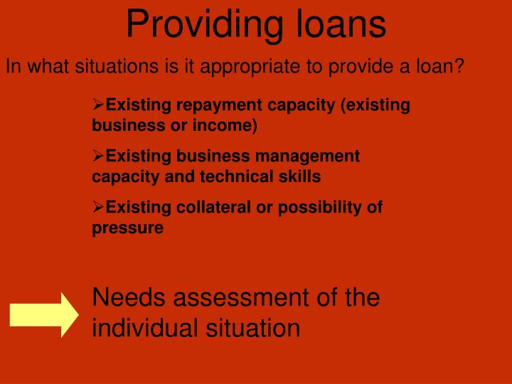 Providing loans