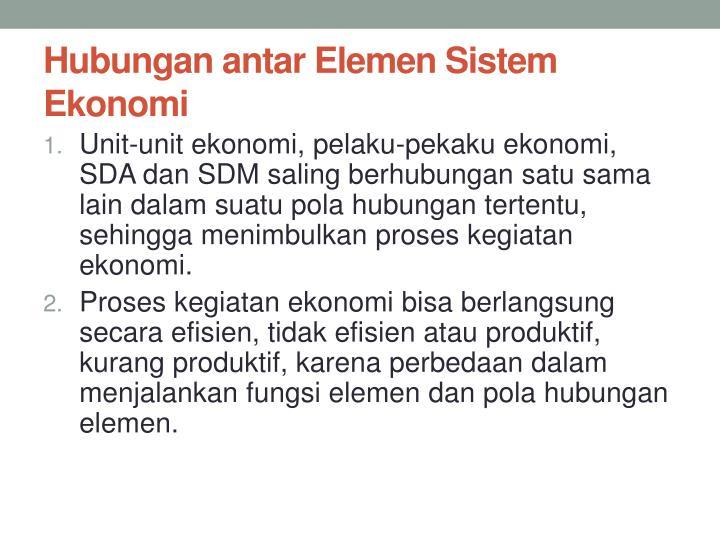 Hubungan antar Elemen Sistem Ekonomi