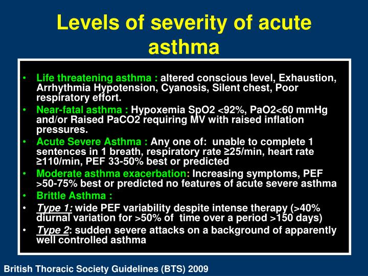 Levels of severity of acute asthma