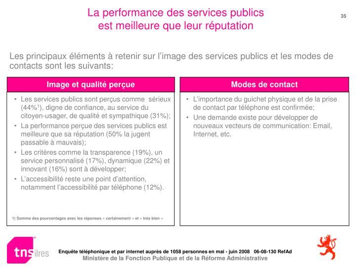 La performance des services publics