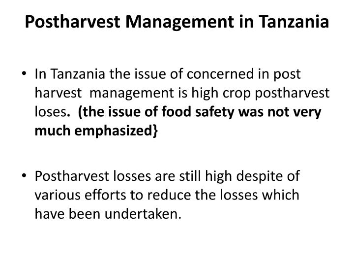 Postharvest management in tanzania