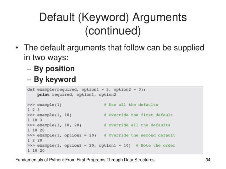 Default (Keyword) Arguments (continued)