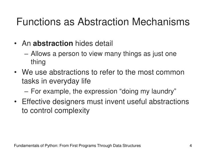 Functions as Abstraction Mechanisms