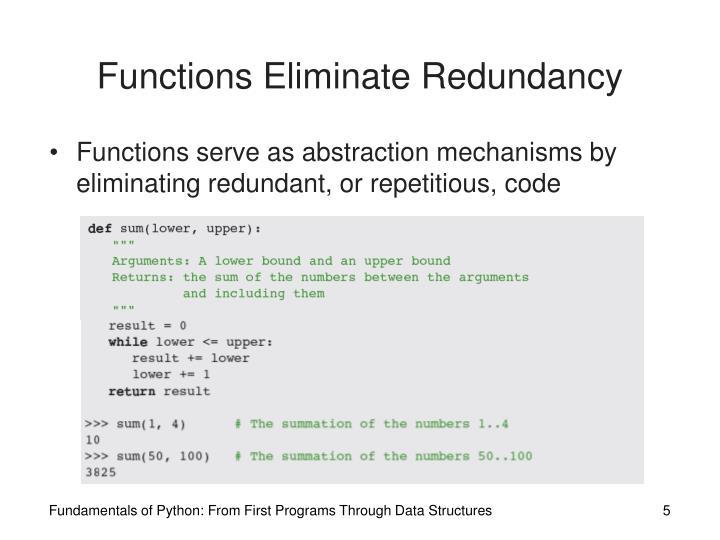 Functions Eliminate Redundancy