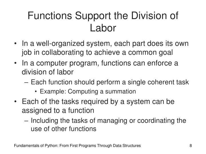 Functions Support the Division of Labor