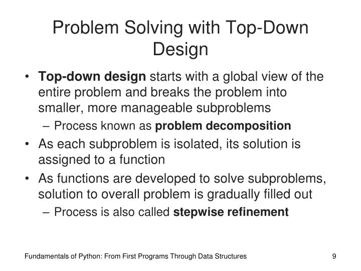 Problem Solving with Top-Down Design