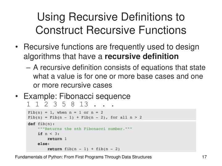 Using Recursive Definitions to Construct Recursive Functions
